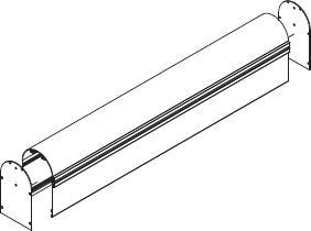 Blende Oval mit Führungs-Schienen und End-Kappen