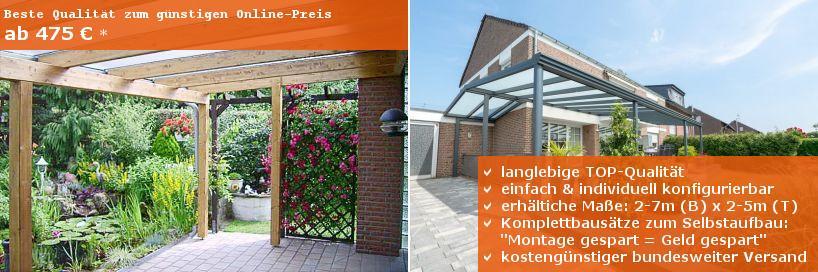 Terrassenüberdachungen mit Holzunterbau oder Aluminiumunterbau