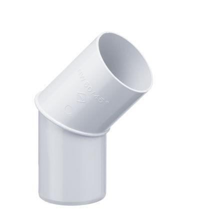 Bögen für Regnfallrohr 45° Weiß