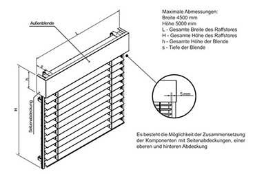 Raffstoren Z90 einteilige Anlage