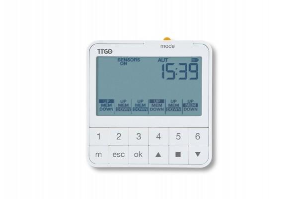 Programmierbarer Funk Timer mit Wandbefestigung, mit LCD-Display. Batteriebetrieben, verwaltet bis zu 6 Kanäle über Funk.