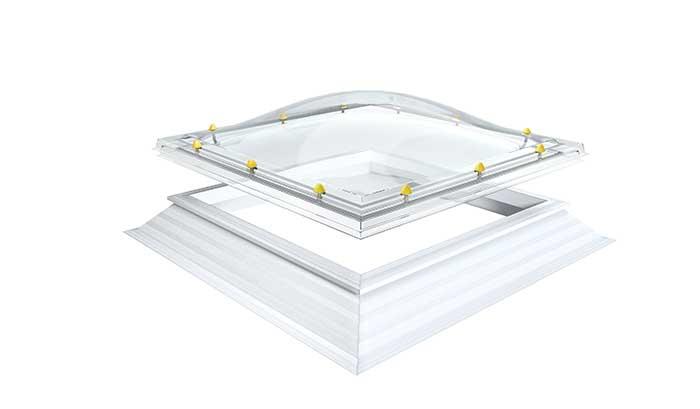 Lichtkuppel öffenbar ( mit Öffnungs-Rahmen und Aufsatzkranz)