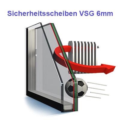 Sicherheits-Scheiben VSG 6 mm