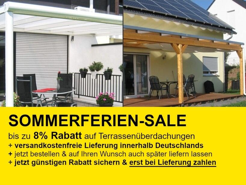 Sommerferien-Sale 2021: Terrassenüberdachungen mit Alu- oder Holzunterbau günstigen Online-Preis mit bis zu 8% Rabatt